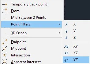 Point filters in AutoCAD