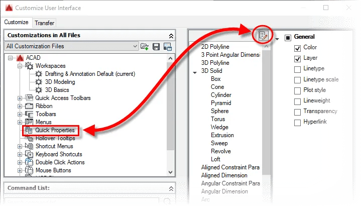 Modifying Quick Properties in AutoCAD