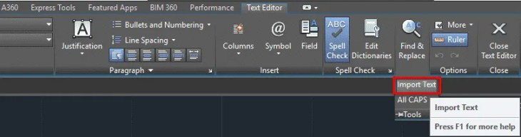 AutoCAD text features