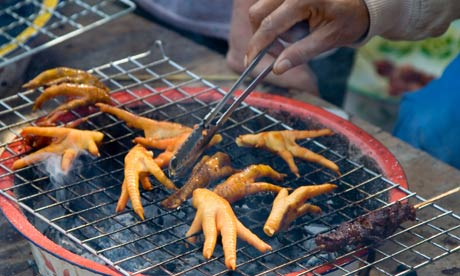 Chicken feet on the grill