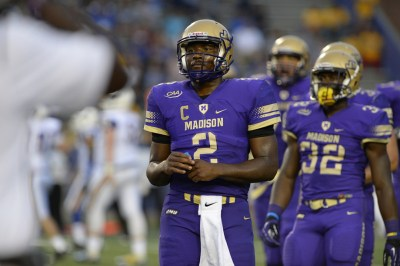 This photo of Vad Lee in a football game is from James Madison University Athletics.