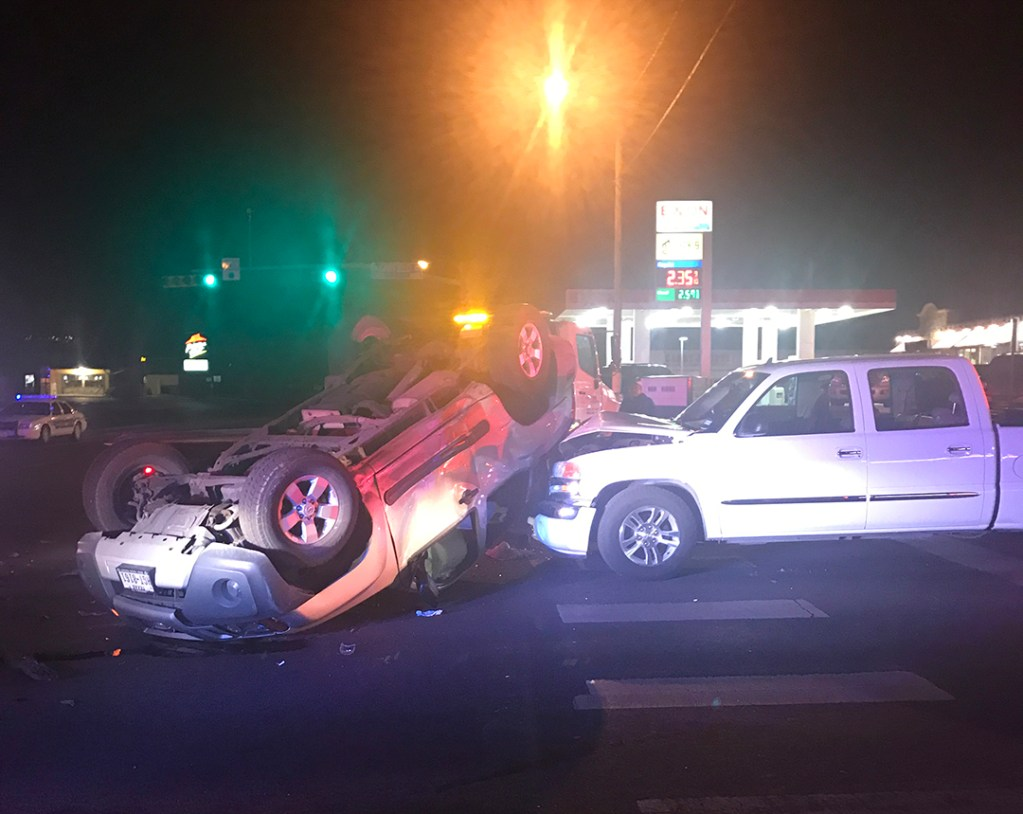 A two-vehicle car accident.