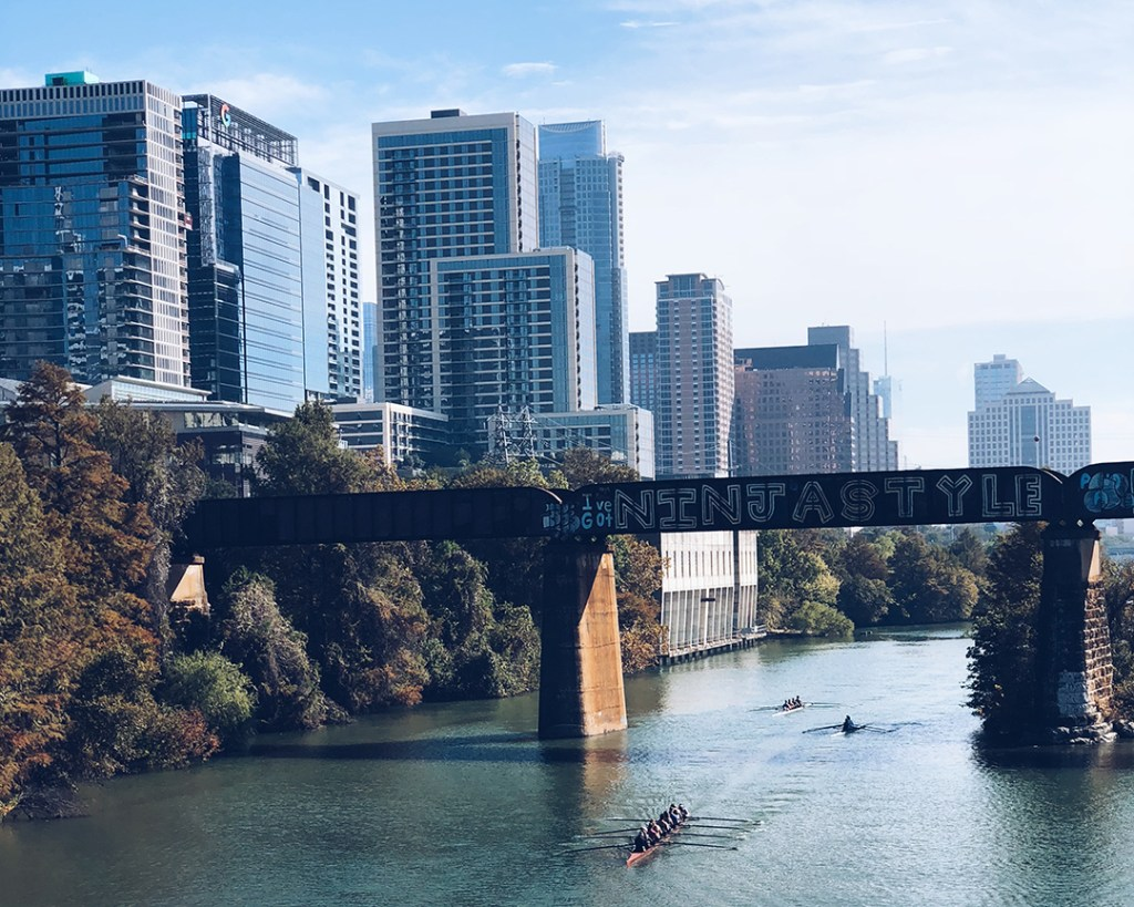 A waterway with a bridge in Austin, Texas.