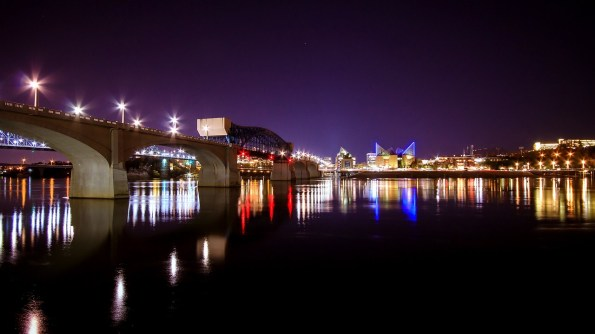 A nighttime city scene of Chattanooga.