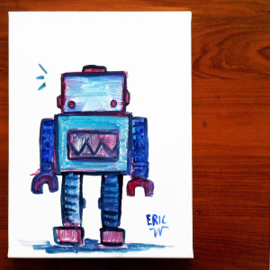 Robot 01. water colour on canvas January 2014