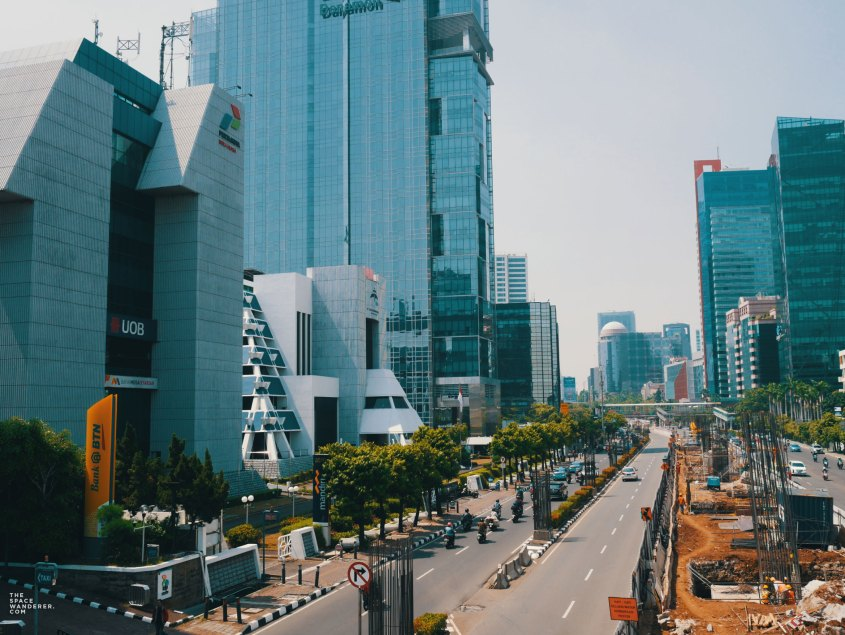 Jakarta City Skyline as seen from a bridge in Rasuna Said