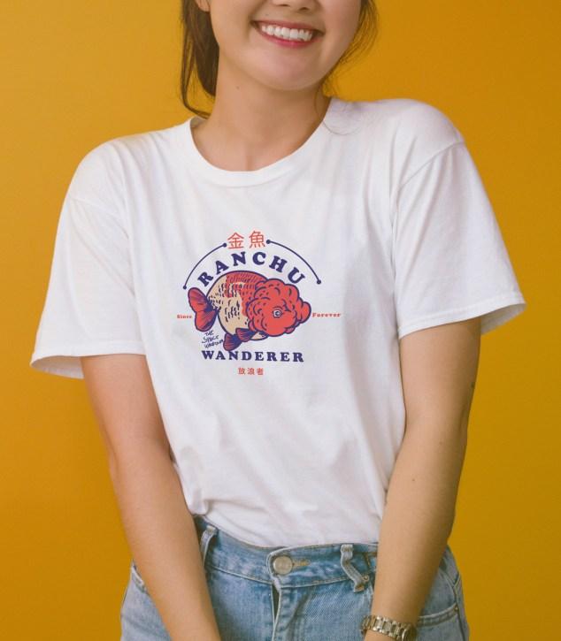 Cute Ranchu Goldfish drawing on white t-shirt