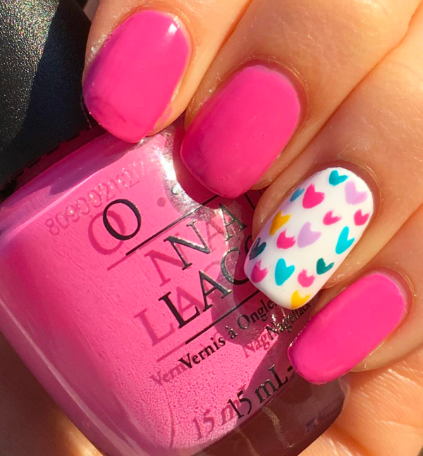 Pink WIth One Nail Full Of Heart Nail Art