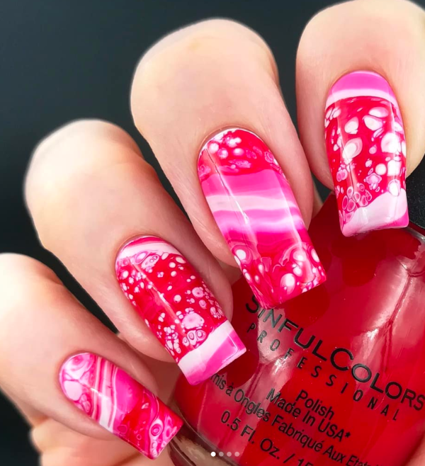 Marble Pink and White Nail Art
