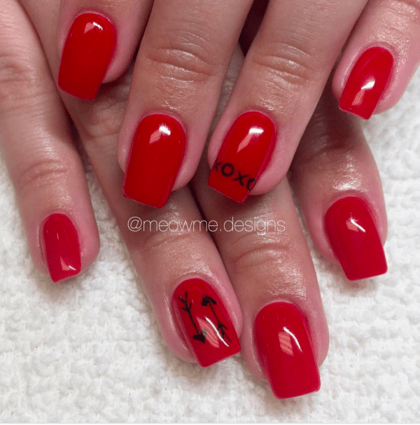 Red Acrylic Nails with Arrows