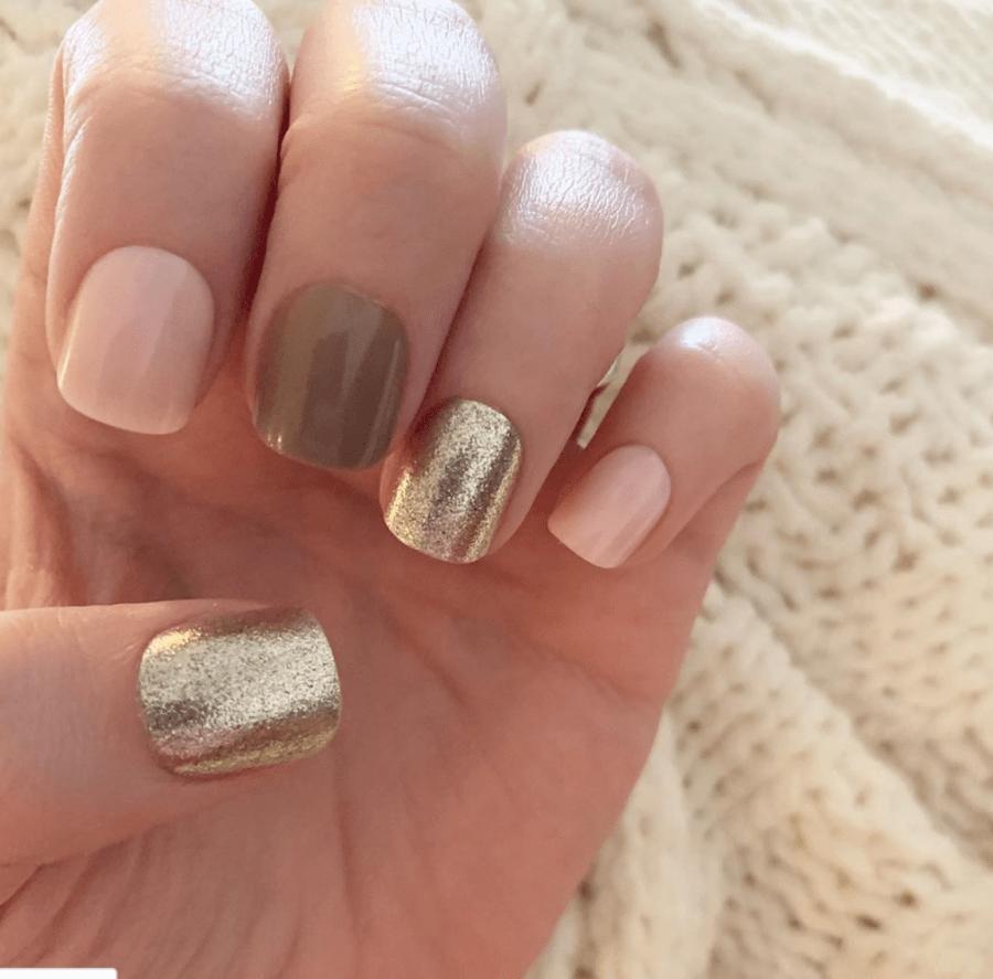 Pink, Carmel and Gold Nails