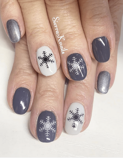 50 Shades of Grey with Snowflakes Winter Nail Designs
