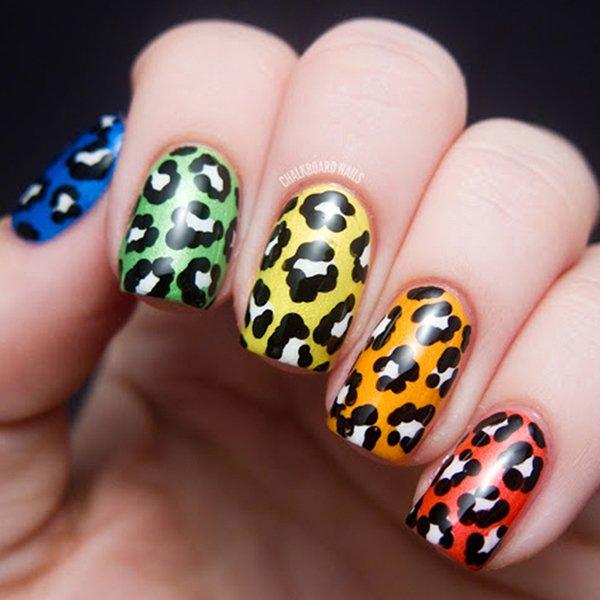Rainbow Leopard Print Nail Designs