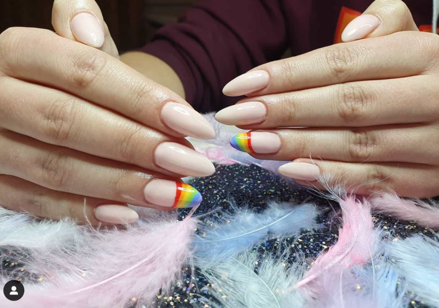 Natural Nails With Rainbow Designs