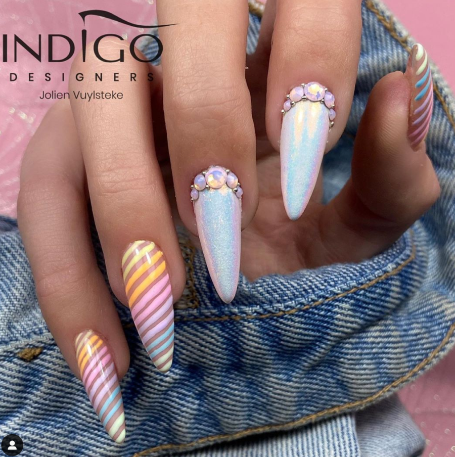 Pretty Pastel Rainbow Colored Nails
