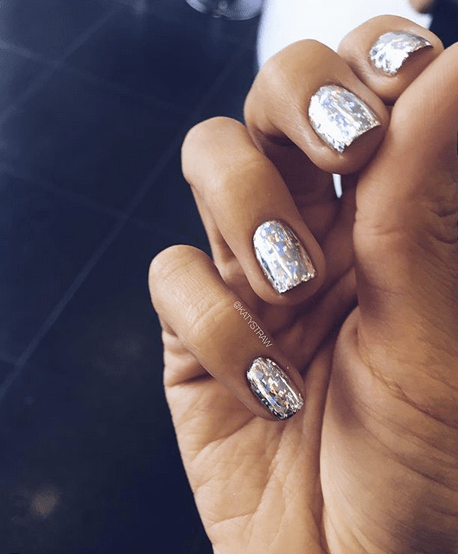 Silver Holographic Shimmering Nails