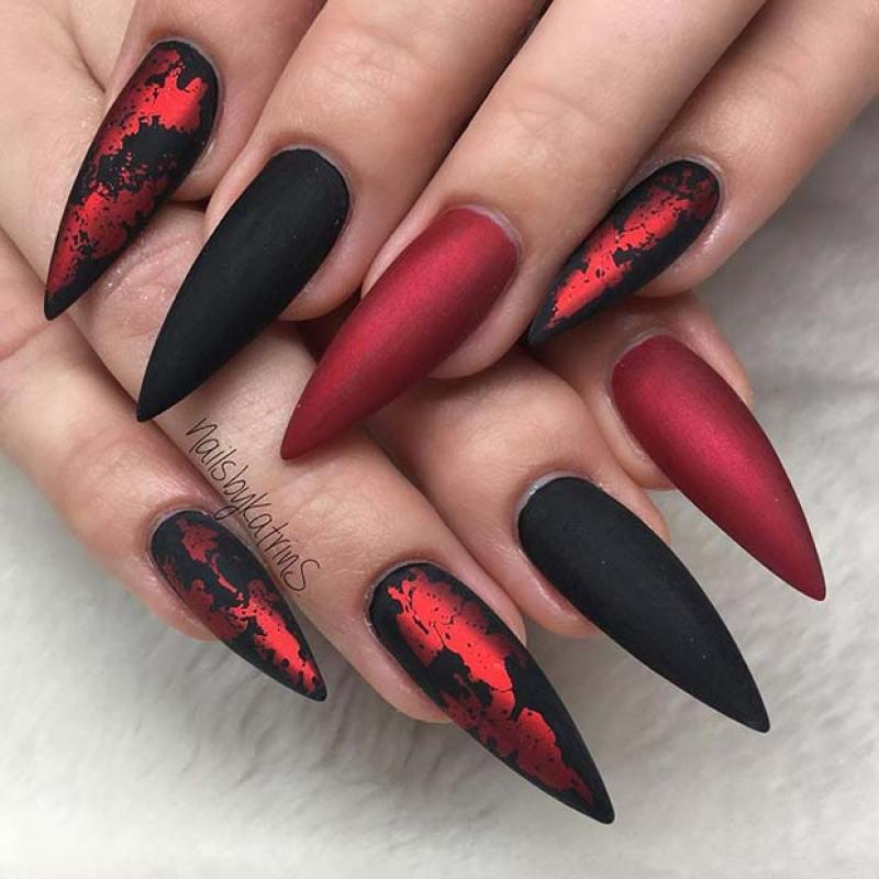 Matte Black Creepy Halloween Nails