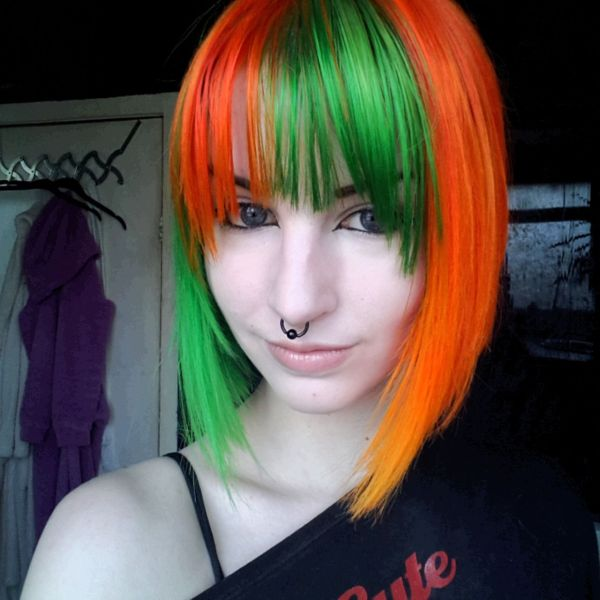 Green and Orange Hair