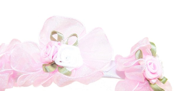 Girls flower girl white or pink head band-443