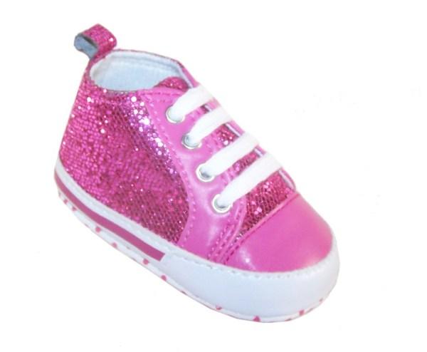 Baby dark pink sparkly trainers-0