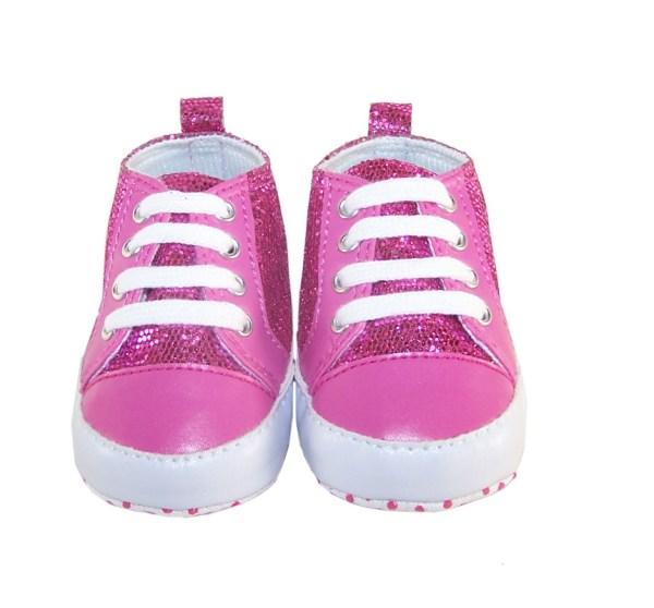 Baby dark pink sparkly trainers-878