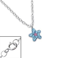 Girls silver crystal flower necklace-1456