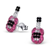 Girls guitar crystal stud earrings