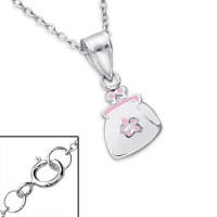 Girls silver necklace with handbag pendant-0