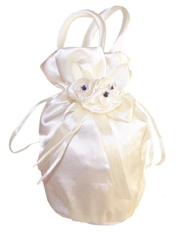 Flower girls ivory satin bag