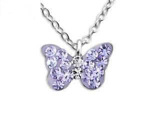 Girls silver necklace with purple crystal butterfly pendant