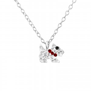 Girls silver necklace with crystal dog pendant-0