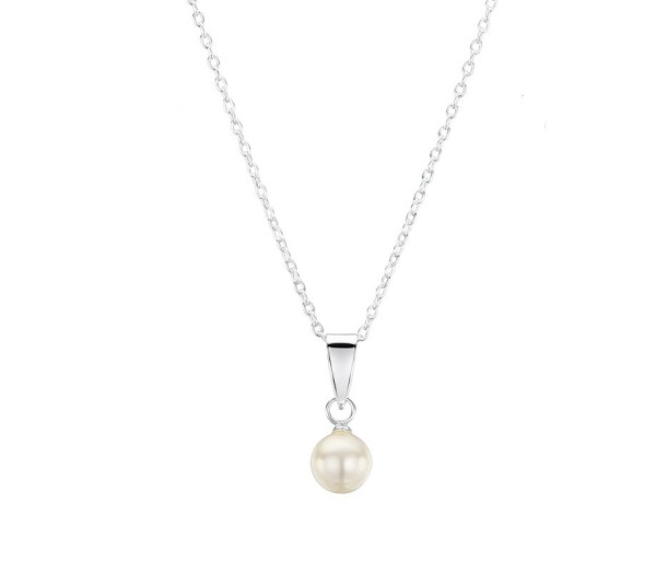 Girls silver white pearl necklace