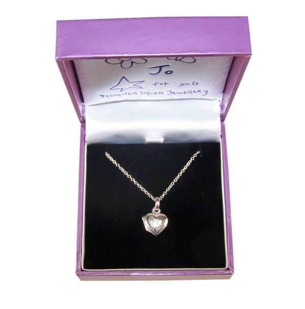 Girls sterling silver heart locket necklace
