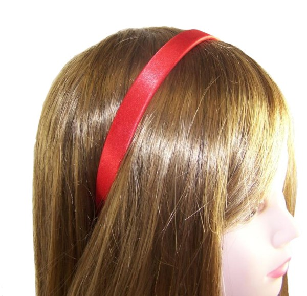 Girls red satin headband