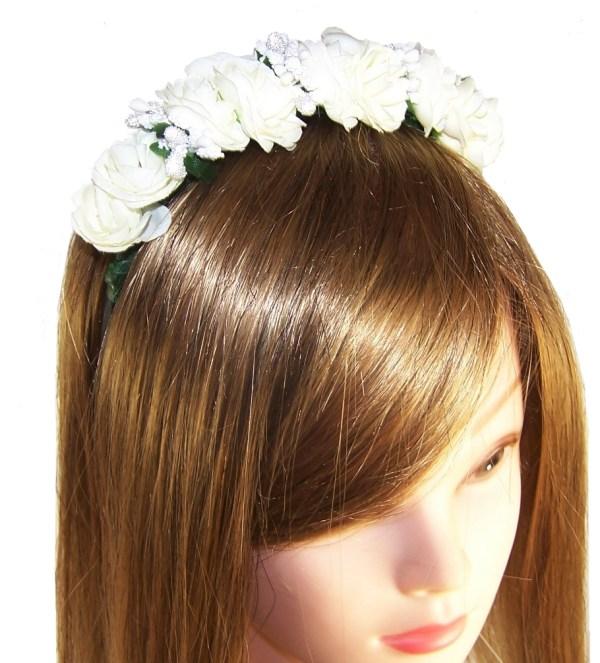Girls ivory flower headband-2615
