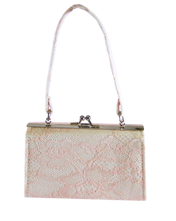 Girls peach and ivory sparkly handbag-2941