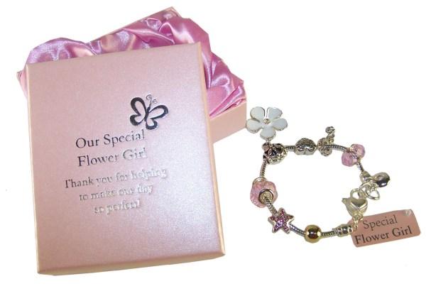 Flower girl silver/pink charm bracelet-2942