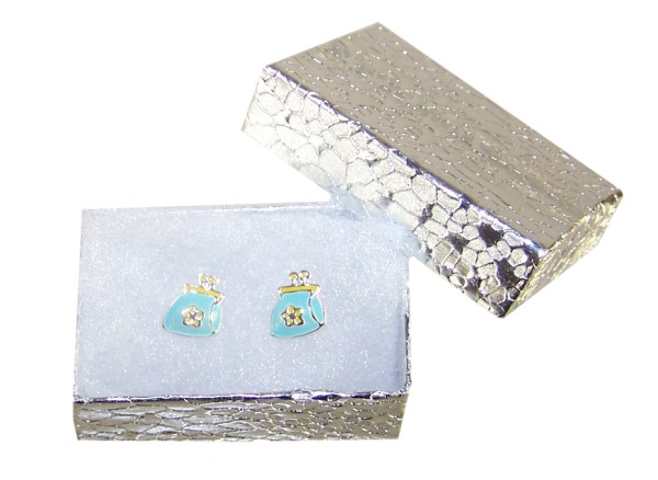 Girls blue and yellow purse stud earrings-2989