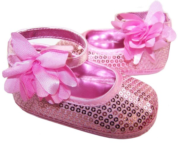 Baby girls pink sequin soft sole shoes-3296