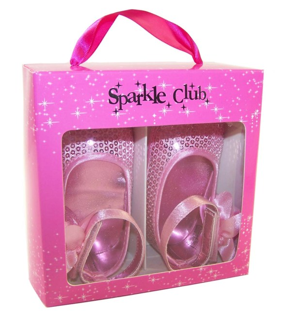Baby girls pink sequin soft sole shoes-3297