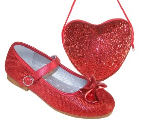 Girls red sparkly balllerina shoes with red heart shaped bag