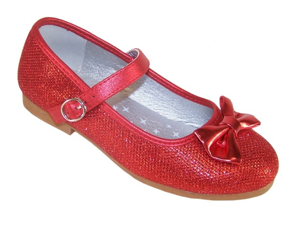Girls red sparkly balllerina shoes with red heart shaped bag-5830