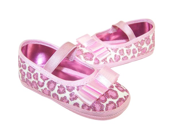 Baby girls pink soft sole party shoes-3302