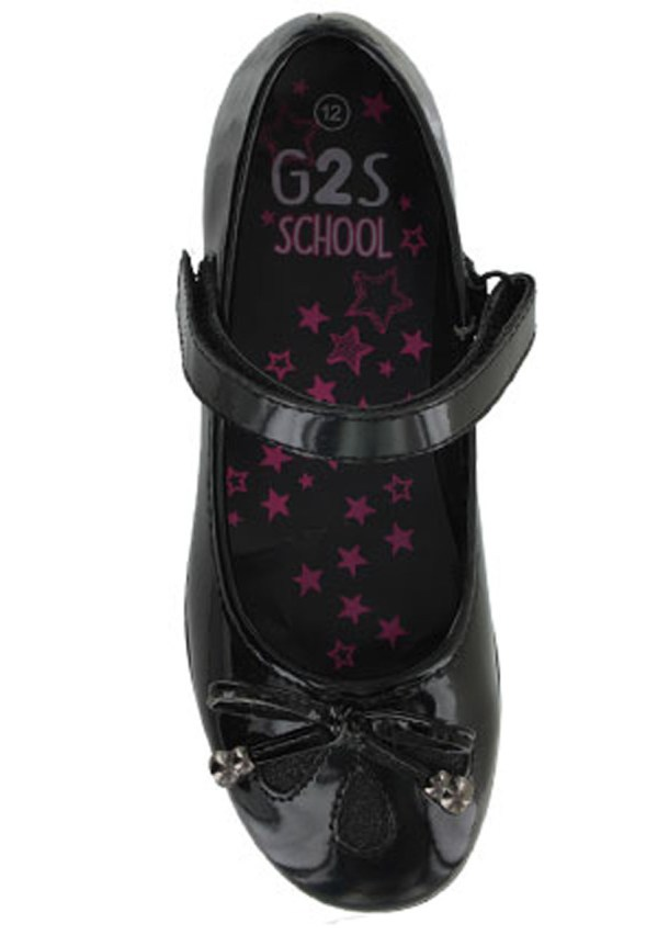 Girls black patent school shoes with glitter inserts-3479