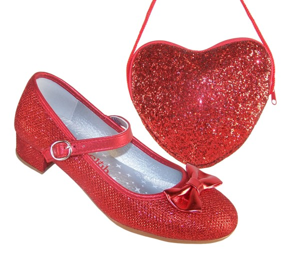 Girls red sparkly heeled shoes with red heart bag-0