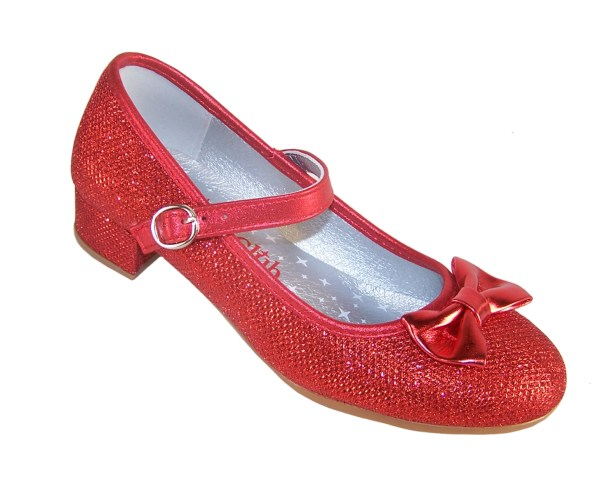 Girls red sparkly heeled shoes with red heart bag-3984