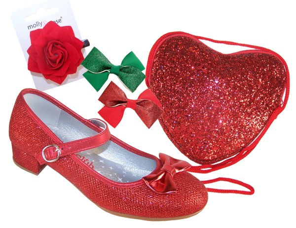 Girls red sparkly low heeled shoes - Gift Set-0