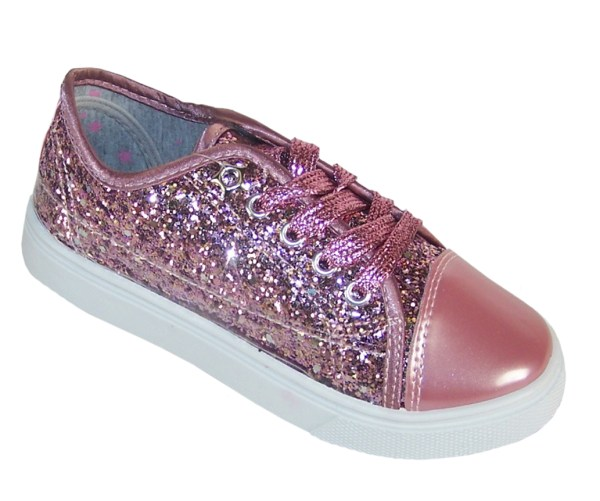 Girls rose pink glitter sparkly trainers -0