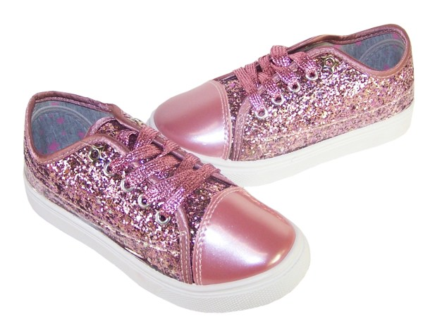 Girls rose pink glitter sparkly trainers -3698