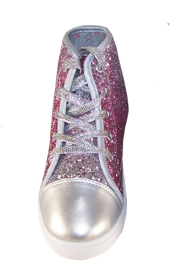 Girls pink and silver glitter high top skater shoes -3785